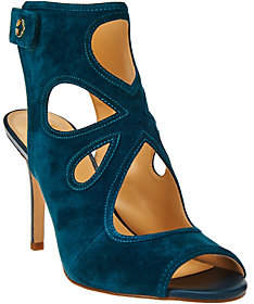 C. Wonder As Is Suede Peep Toe Booties Cutout Design - Phoebe