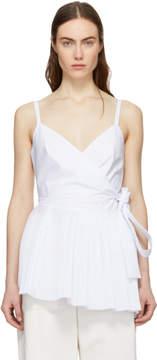 Cédric Charlier White Asymmetric Ruffle Camisole