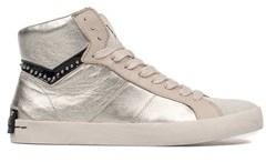 Crime London Women's Grey Leather Hi Top Sneakers.