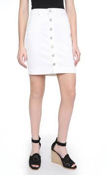 Blank Button Front White Denim Mini Skirt