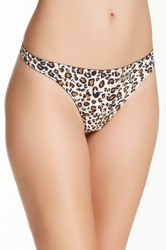 Felina Black Bow Leopard Thong
