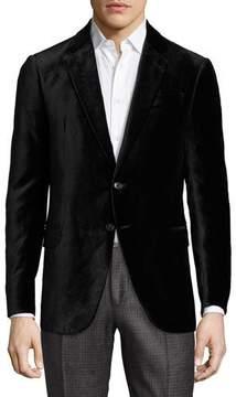 Armani Collezioni R-Line Textured Velvet Two-Button Sport Coat, Black