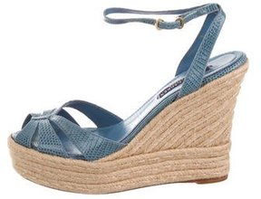 Ralph Lauren Collection Lizard Wedge Sandals