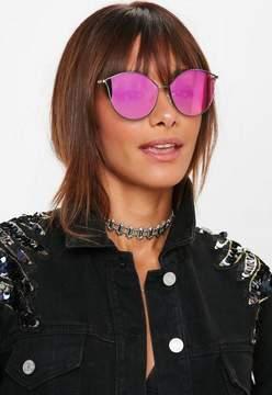 Missguided Purple Reflective Cat Eye Sunglasses