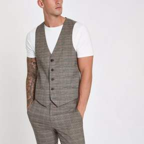 River Island Mens Brown and pink check suit vest