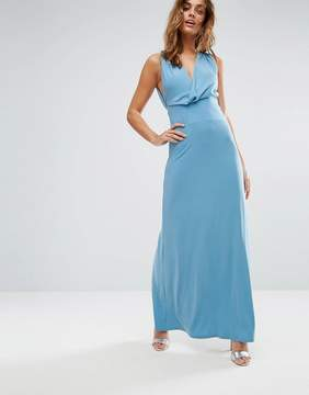 Asos Pleat Back Wrap Front Maxi Dress