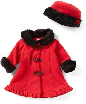 Starting Out Baby Girls 3-24 Months Faux-Fur Trim Coat & Matching Hat Set