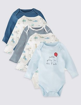 Marks and Spencer 5 Pack Pure Cotton Long Sleeve Bodysuits