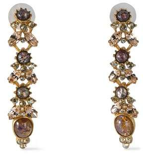 Ben-Amun Gold-Tone Stone And Crystal Earrings