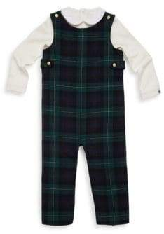 Ralph Lauren Baby's Two-Piece Overall Plaid Set