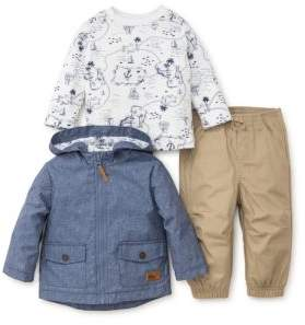 Little Me Baby Boy's Three-Piece Top, Pants and Treasure Map Jacket Set