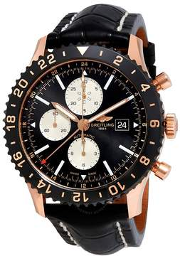Breitling Chronoliner Black Dial Automatic Men's Chronograph Leather Watch