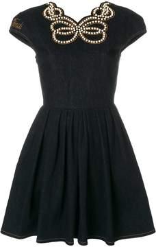 Fendi denim pearl-embellished dress