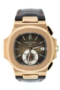 Patek Philippe Nautilus 5980R-001 18K Rose Gold / Leather 40.5mm Mens Watch