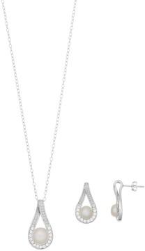 Sterling Silver Pearl Teardrop Earring & Pendant Necklace Set