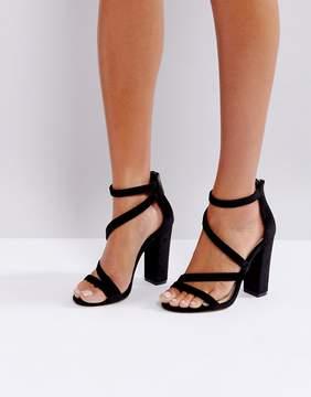 Miss KG Asymmetric Block Heeled Velvet Sandal