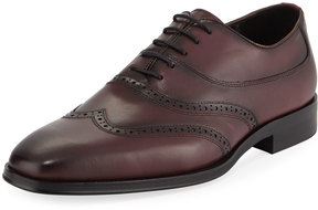 Karl Lagerfeld Mixed Leather Wing-Tip Oxford, Red