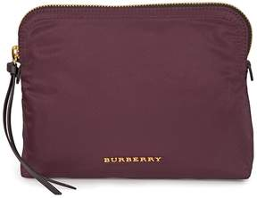 Burberry Zip-Top Check Technical Pouch - Burgundy Red