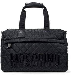 Moschino Leather-Trimmed Appliquéd Quilted Shell Tote