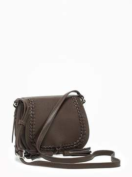 Faux-Leather Whipstitched Saddle Bag for Women