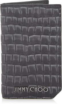 Jimmy Choo CLIFFORD/S Slate Crocodile Printed Nubuck Leather Small Bifold Wallet