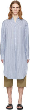 Loewe Blue and White Striped Linen Long Shirt