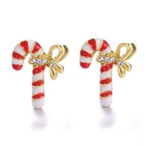 Alpha A A Christmas Gold Tone Candy Cane Earrings