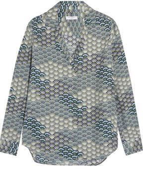 Equipment Adalyn Printed Washed-silk Shirt - Blue