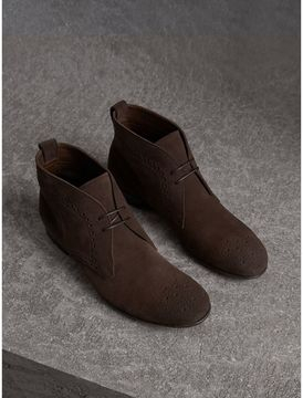 Burberry Brogue Detail Suede Desert Boots