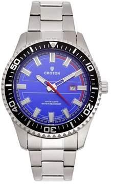 Croton Men's Aquamatic Silvertone Stainless Blue Dial Quartz Watch