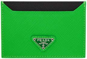 Prada Green Triangle Logo Card Holder