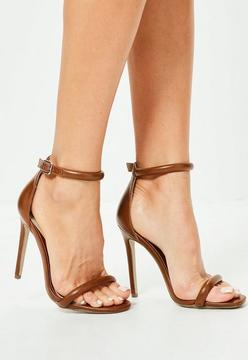 Missguided Brown Rounded Barely There Heeled Sandals