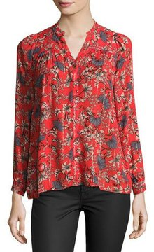 BA&SH Edgy Floral-Print Button-Front Top