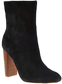 Sole Society As Is Suede Mid-Calf Stacked Heel Boots-Veronika