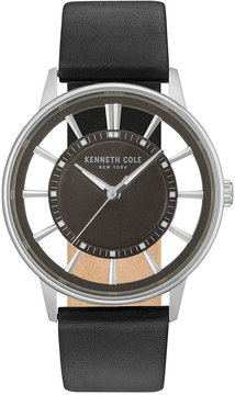 Kenneth Cole New York Men's Black Leather Strap Watch 43mm KC14994003