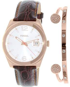 Fossil Women's Perfect Boyfriend ES3770SET Brown Leather Quartz Watch