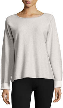 ATM Anthony Thomas Melillo Long-Sleeve Round-Neck Cashmere Blend Sweater