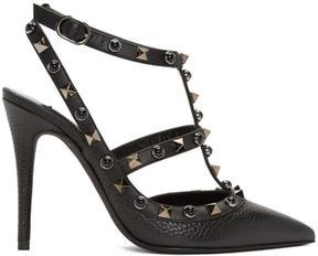 Valentino Black Garavani Rockstud Rolling Heels