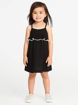 Old Navy Slub-Knit Pom-Pom Ruffle Swing Dress for Toddler Girls