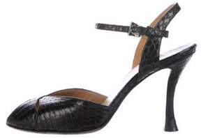 Walter Steiger Snakeskin Peep-Toe Sandals