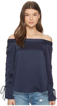 1 STATE 1.STATE Off Shoulder Blouse w/ Lace-Up Sleeves Women's Blouse
