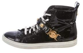 Versace Patent High-Top Sneakers