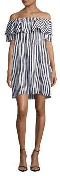 Context Striped Off-the-Shoulder Ruffle Dress