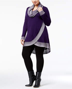 Belldini Plus Size Cowl-Neck Tulip-Hem Sweater
