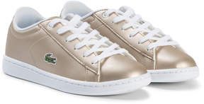 Lacoste Gold and White Carnaby Evo Kids Trainers