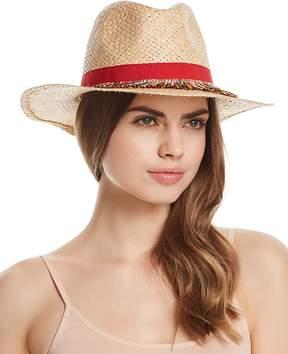 Aqua Fringe-Trim Panama Hat - 100% Exclusive