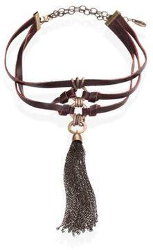 Ettika Multi-Strand Leather Tassel Choker