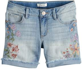 Mudd Girls 7-16 & Plus Size Embroidered Floral Frayed & Rolled Cuff Denim Shorts