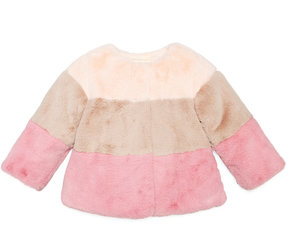 First Impressions Colorblocked Faux-Fur Jacket, Baby Girls (0-24 months), Created for Macy's