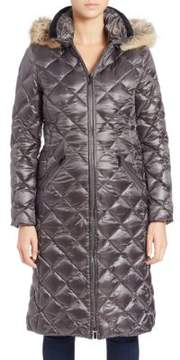 Dawn Levy Kali Coyote Fur-Trimmed Diamond Quilted Coat